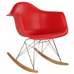 Eames Style RAR Plastic Rocking Chair with Steel Eiffel Legs in Red
