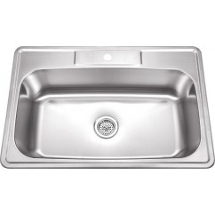 33 Inch Stainless Steel Topmount Drop In Single Bowl Kitchen Sink with 1 Hole Drilling