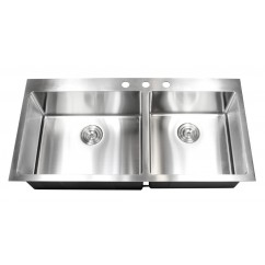 43 Inch Drop In Stainless Steel Double Bowl Kitchen Sink 15mm Radius Design