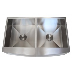 36 Inch Stainless Steel Curved Front Farmhouse Apron Kitchen Sink 50/50 Double Bowl