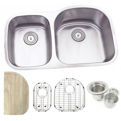 32 Inch Stainless Steel Undermount Double 30/70 D-Bowl Offset Kitchen Sink - 16 Gauge FREE ACCESSORIES