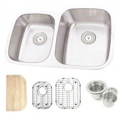 32 Inch Stainless Steel Undermount Double Bowl 40/60 Offset Kitchen Sink - 16 Gauge FREE ACCESSORIES