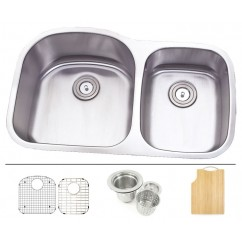 35 Inch Stainless Steel Undermount Double 60/40 D-Bowl Offset Kitchen Sink - 16 Gauge FREE ACCESSORIES