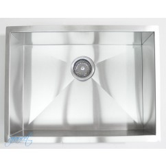 23 Inch Stainless Steel Undermount Single Bowl Kitchen / Bar / Prep Sink Zero Radius Design