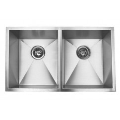 37 Inch Stainless Steel Undermount 50/50 Double Bowl Kitchen Sink Zero Radius Design