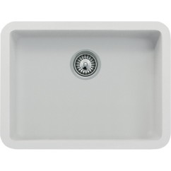 White Quartz Composite Single Bowl Undermount Kitchen Sink - 19-13/16 x 14-15/16 x 7 Inch