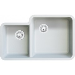 White Quartz Composite 40/60 Double Bowl Undermount Kitchen Sink - 33 x 20-13/16 x 7-3/4 | 9-7/16 Inch