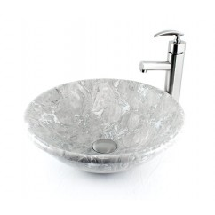 Milkyway - Granite Stone Alicante Undermount / Drop In / Countertop Bathroom Lavatory Vessel Sink - 16-1/4 x 5-1/16 Inch