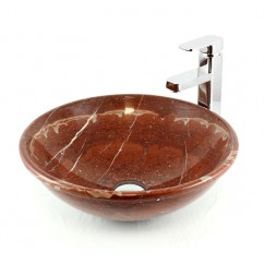 Firestar - Red Rock Marble Stone Undermount / Drop In / Countertop Bathroom Lavatory Vessel Sink - 16 x 5-3/8 Inch