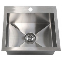 19 Inch Top-Mount / Drop-In Stainless Steel Single Bowl Kitchen Island / Bar Sink Zero Radius Design