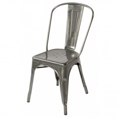 Tolix Style Metal Industrial Loft Designer Cafe Chair in Gun Metal