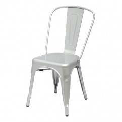 Tolix Style Metal Industrial Loft Designer Cafe Chair in Silver