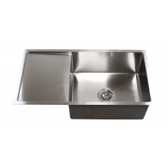 36 Inch Stainless Steel 15mm Radius Design Undermount Single Bowl Kitchen Sink with 13 Inch Drain Board
