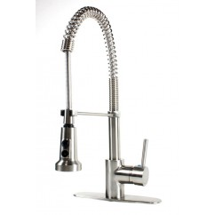 European Style Lead Free Coil Spring Brushed Nickel Kitchen Faucet