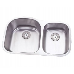 32 Inch Stainless Steel Undermount Double 70/30 D-Bowl Offset Kitchen Sink - 16 Gauge