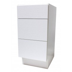 15 Inch European Design Bathroom Vanity 3-Drawer Cabinet Base White Textured Finish
