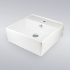 16 Inch Self Rimming Porcelain Ceramic Single Hole Countertop Bathroom Vessel Sink