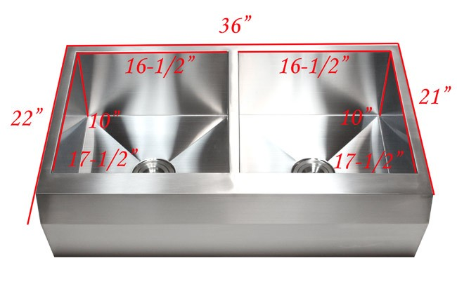 36 Inch Stainless Steel Well Angled Front Farmhouse Apron