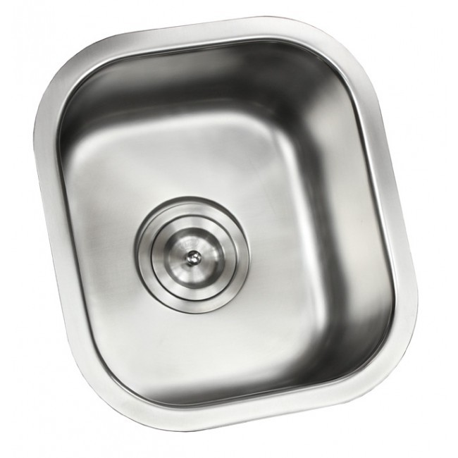 Ariel pearl 14 inch stainless steel undermount single bowl - 18 inch kitchen sink ...