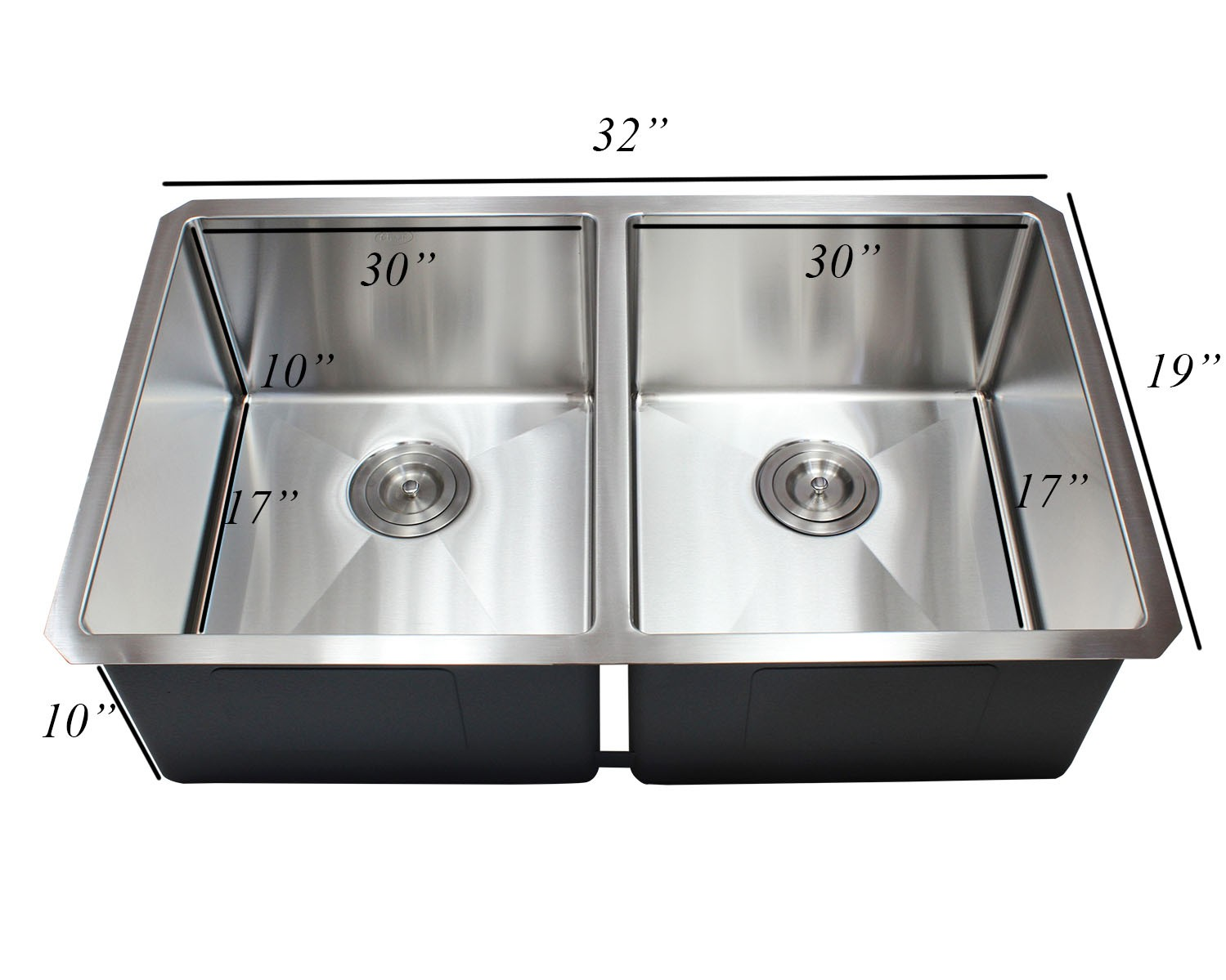 32 inch 16 gauge undermount double bowl 50 50 15mm radius for Designer stainless steel sinks