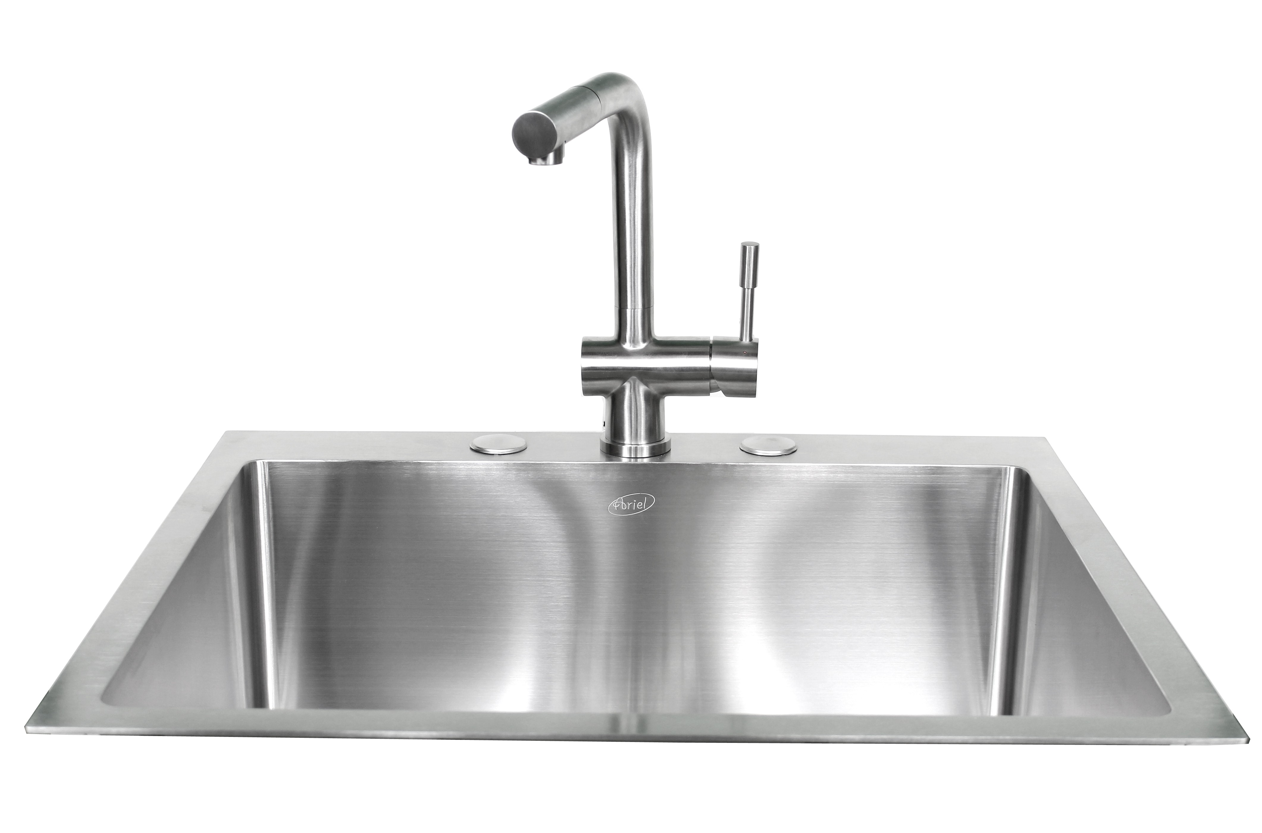 25 inch top mount drop in stainless steel single bowl for Designer kitchen sinks stainless steel