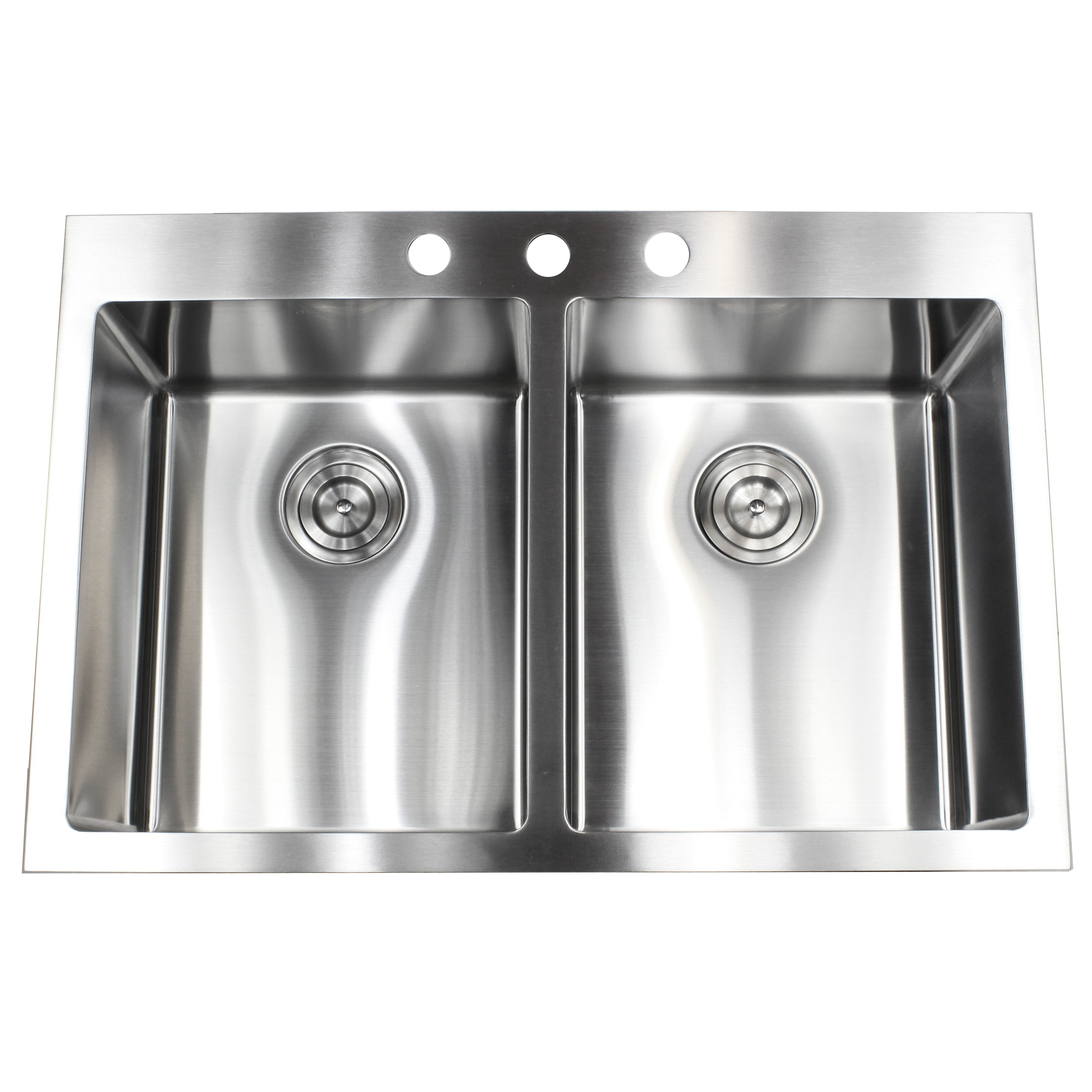 33 Inch Top Mount Drop In Stainless Steel Double Bowl Stainless