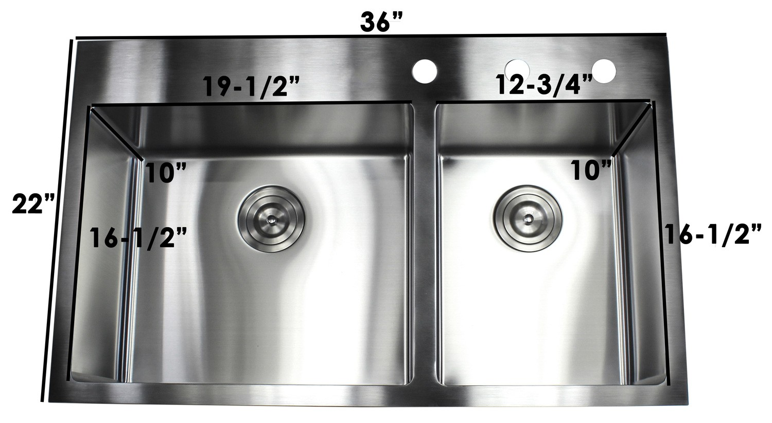 more views 36 inch top mount   drop in stainless steel 60 40 double bowl      rh   cbath com