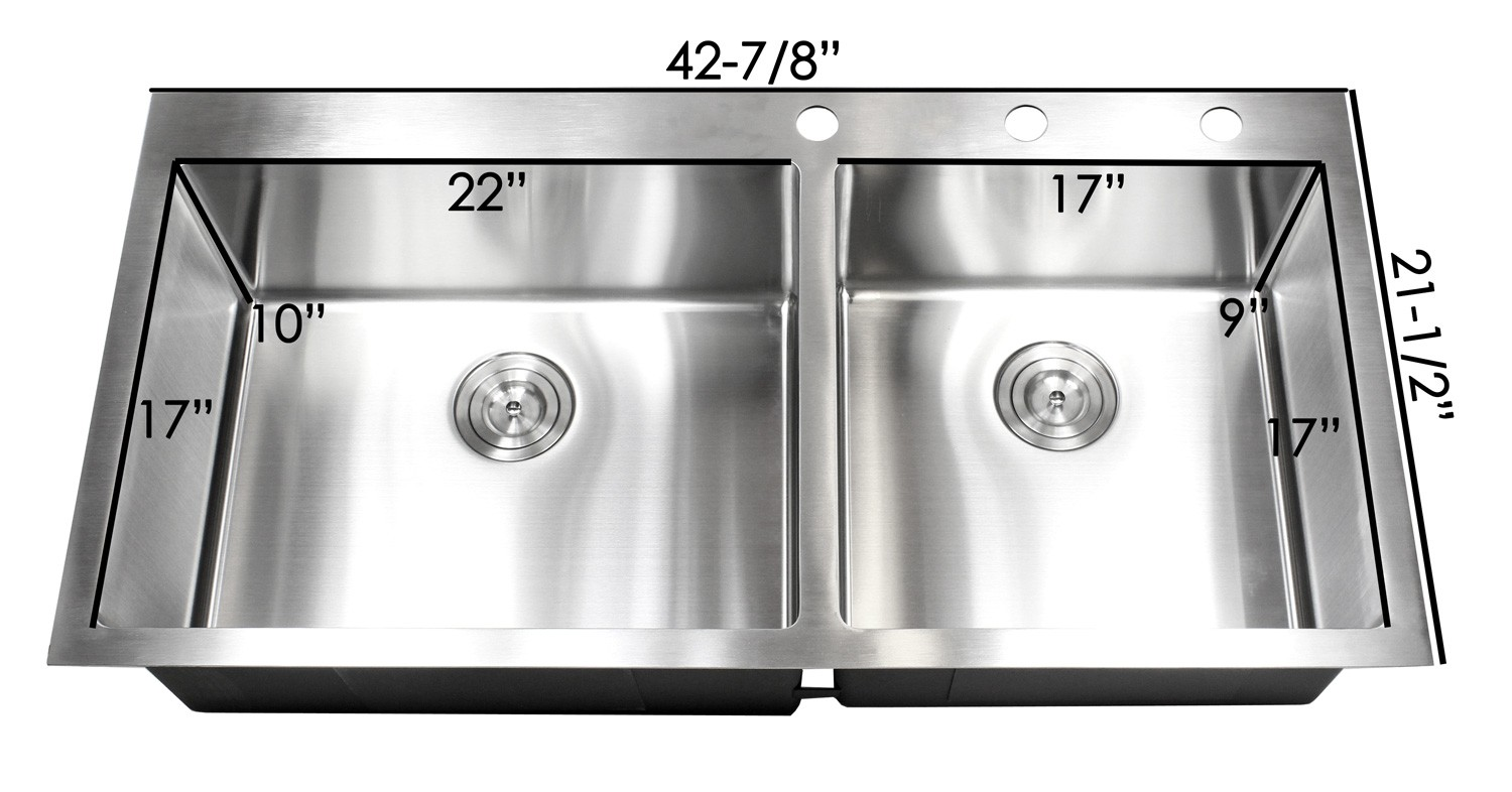 more views 43 inch top mount   drop in stainless steel double bowl kitchen      rh   cbath com