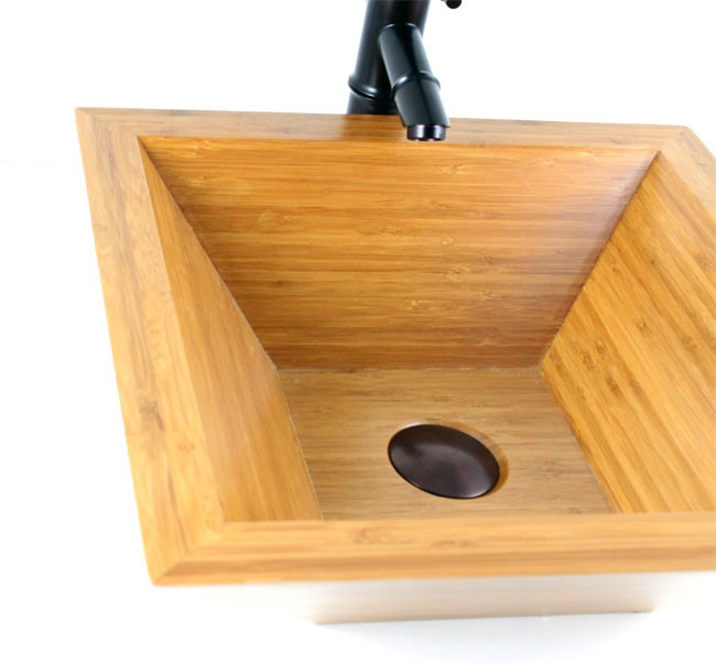 Countertop Height With Vessel Sink : Passion - Bamboo Countertop Bathroom Lavatory Vessel Sink - 16-3/4 x ...
