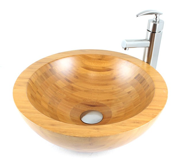Serenity - Bamboo Countertop Bathroom Lavatory Vessel Sink - 16-1/2 x ...