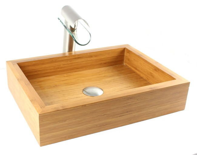 Countertop Height With Vessel Sink : Grace - Bamboo Countertop Bathroom Lavatory Vessel Sink - 18-7/8 x 14 ...