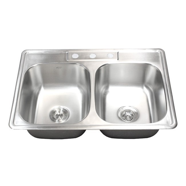 33 inch stainless steel top mount drop in 50 50 double bowl kitchen sink   18 gauge 33 inch stainless steel top mount drop in 50 50 double bowl      rh   cbath com