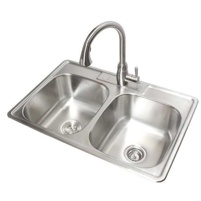 33 inch stainless steel top mount drop in 50 50 double - 18 inch kitchen sink ...