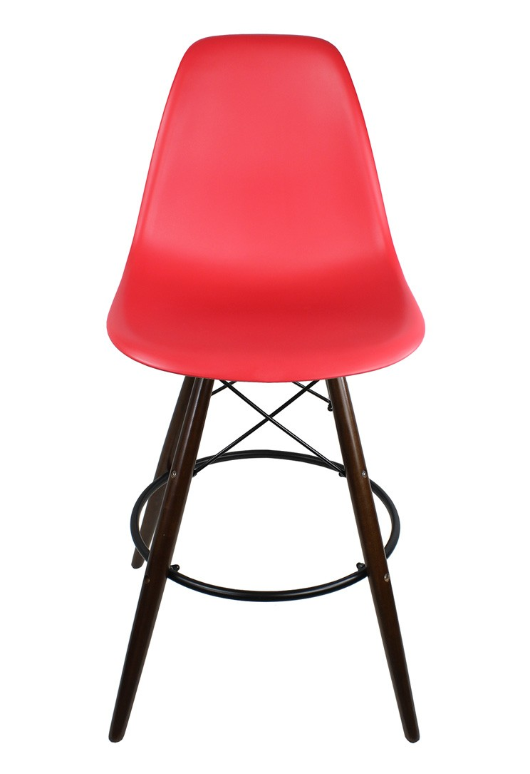 2 X Red Eames Style Dsw Bar Stool With Dark Walnut Wood