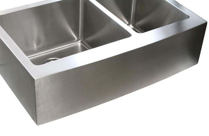 7 Inch Apron Front Sink : 33 Inch Stainless Steel Curved Front Farm Apron Kitchen Sink - 15mm ...