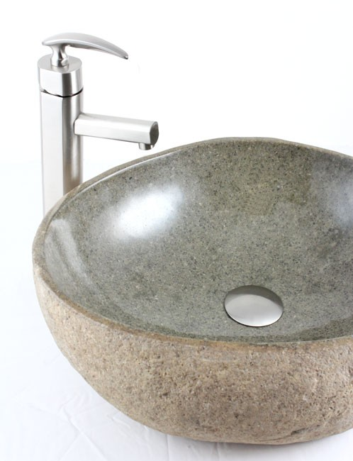 ... River Stone Countertop Bathroom Lavatory Vessel Sink - 19 x 16 Inch