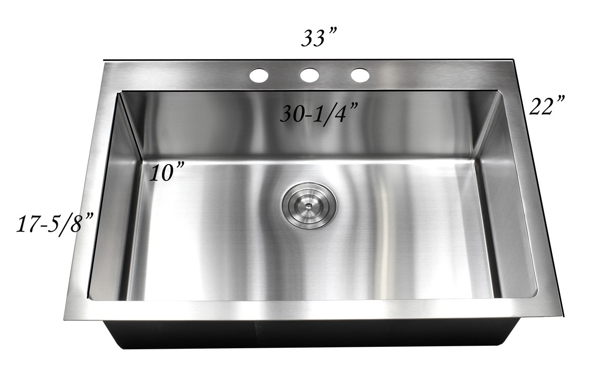 33 inch top mount drop in stainless steel single bowl for Designer kitchen sinks stainless steel