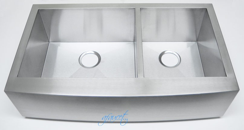 36 Inch Stainless Steel Curved Front Farmhouse Apron 60/40 Double Bowl ...