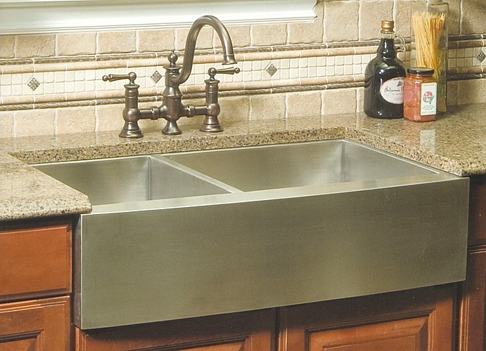 36 Inch Stainless Steel Curved Front Farmhouse Apron 60/40 Double ...