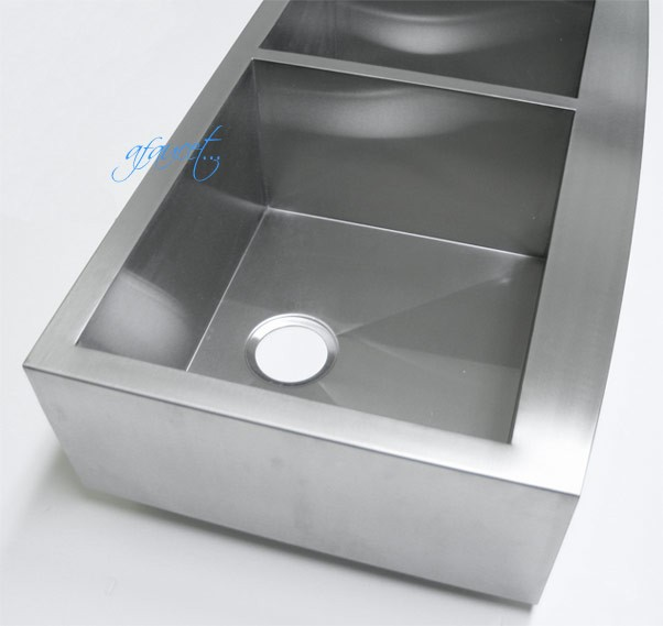 ... Stainless Steel Curved Front Farm Apron 40/60 Double Bowl Kitchen Sink