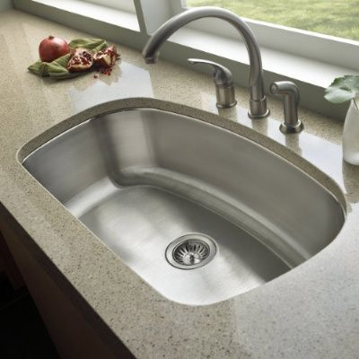 32 Inch Stainless Steel Undermount Curved Single Bowl Kitchen Sink