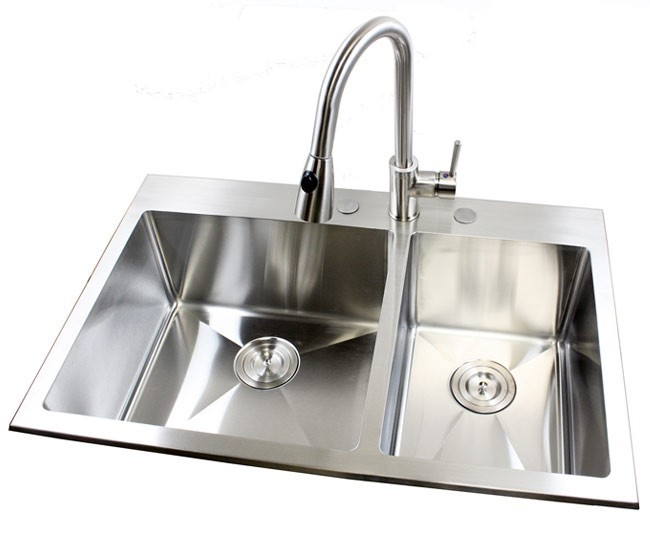 Top Kitchen Sinks 33 inch top mount drop in stainless steel double bowl kitchen sink more views workwithnaturefo