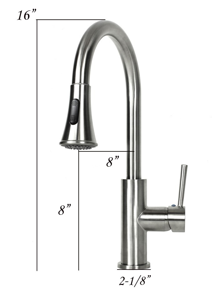 European Design Lead Free Single Hole Pull Out Sprayer Kitchen Faucet Brushed Nickel Finish