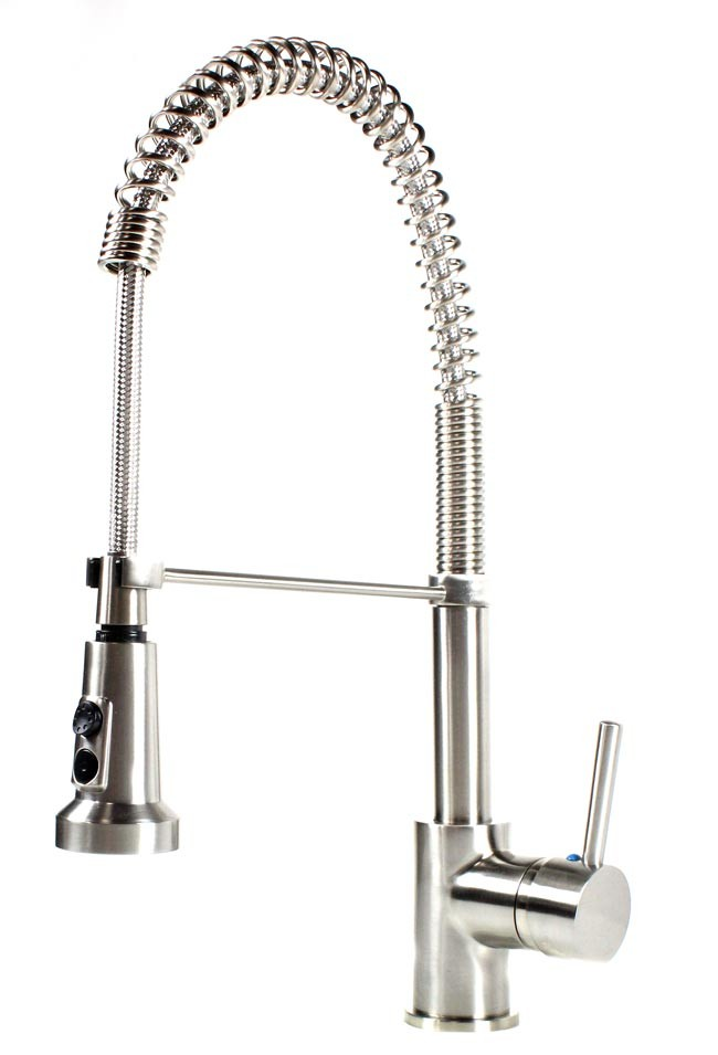 European Style Kitchen Faucet : European style lead free coil spring brushed nickel kitchen faucet