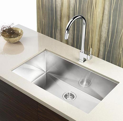 stainless steel undermount single bowl kitchen sink zero radius design